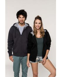 Hooded sweater met rits.