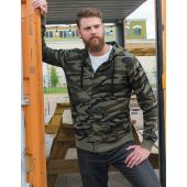 Full Zip Camo Hoodie Fleece Jack, heren.